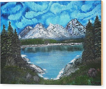 Deep Mountain Lake Wood Print
