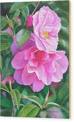 Deep Pink Camellias Wood Print by Sharon Freeman