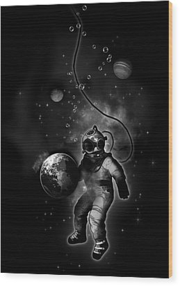 Deep Sea Space Diver Wood Print