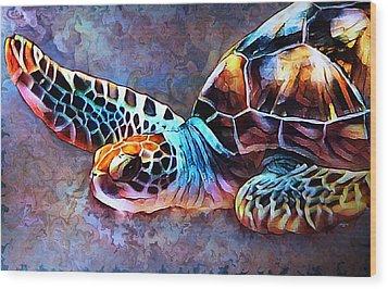 Deep Sea Trutle Wood Print