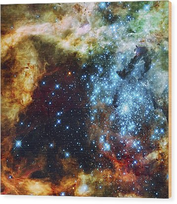 Deep Space Fire And Ice 2 Wood Print by Jennifer Rondinelli Reilly - Fine Art Photography