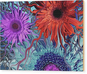 Deep Water Daisy Dance Wood Print by Christopher Beikmann