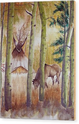 Deep Woods Camp Wood Print by Jimmy Smith