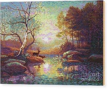 Deer And Dancing Shadows Wood Print