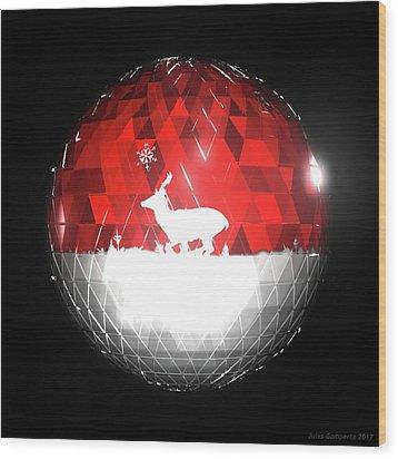 Deer Bauble - Frame 103 Wood Print