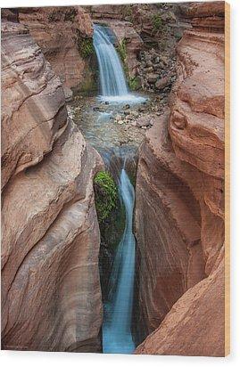 Deer Creek Double Waterfall Wood Print