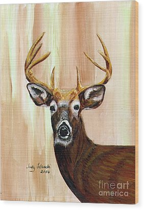 Deer Head Wood Print by Judy Filarecki