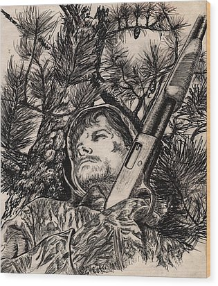 Deer Hunter Wood Print by Kathleen Kelly Thompson