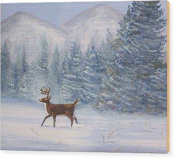 Deer In The Snow Wood Print by Denise Fulmer