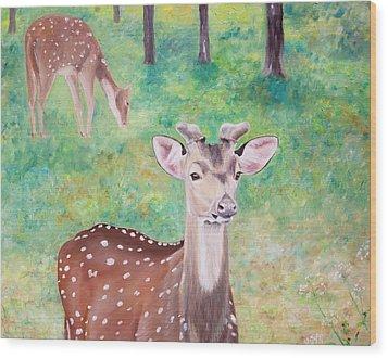 Wood Print featuring the painting Deer In Woods by Elizabeth Lock