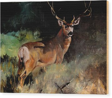 Deer Painting Wood Print by Michele Carter