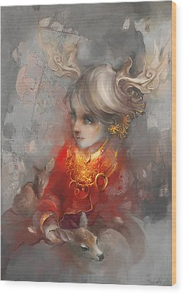 Deer Princess Wood Print