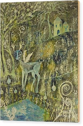 Wood Print featuring the painting Deer Reflections by Julie Engelhardt