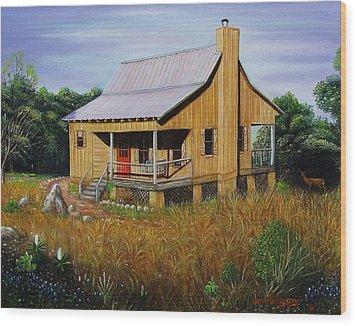 Deer Run Cabin Wood Print