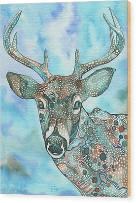 Wood Print featuring the painting Deer by Tamara Phillips