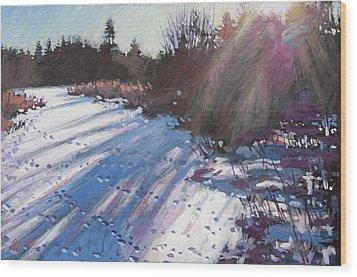 Deer Tracks Snowy River Wood Print by Larry Seiler