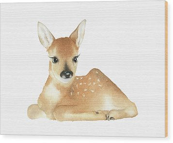 Wood Print featuring the painting Deer Watercolor by Taylan Apukovska