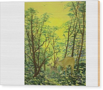Deer With Fawn Wood Print by Hal Newhouser