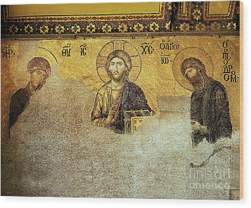 Deesis Mosaic Hagia Sophia-christ Pantocrator-the Last Judgement Wood Print