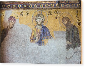 Deesis Mosaic Of Jesus Christ Wood Print