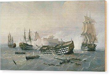 Defence Of The Havana Promontory  Wood Print by Rafael Monleon y Torres