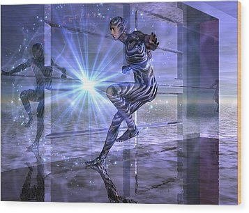 Wood Print featuring the digital art Defy The Boundaries Visible And Invisible by Shadowlea Is