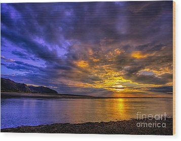 Deganwy Sunset Wood Print by Adrian Evans
