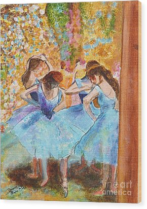Degas Dancers In Blue Wood Print by Pauline Ross
