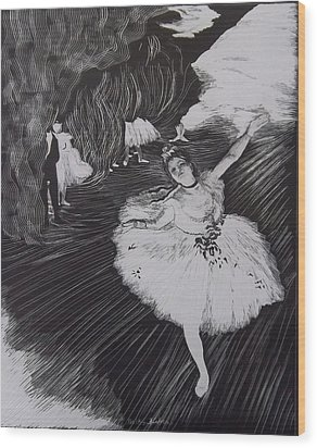 Degas' L'etoile In Scratchboard Wood Print by Becky Chappell