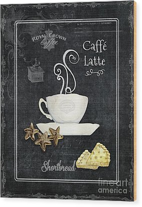 Wood Print featuring the painting Deja Brew Chalkboard Coffee 2 Caffe Latte Shortbread Chocolate Cookies by Audrey Jeanne Roberts