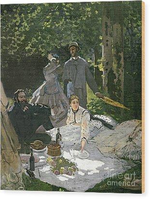 Dejeuner Sur Lherbe Wood Print by Claude Monet