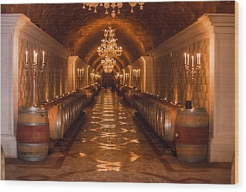 Del Dotto Wine Cellar Wood Print by Scott Campbell