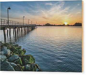 Del Norte Pier And Spring Sunset Wood Print by Greg Nyquist