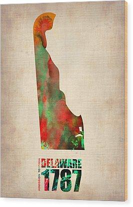 Delaware Watercolor Map Wood Print by Naxart Studio