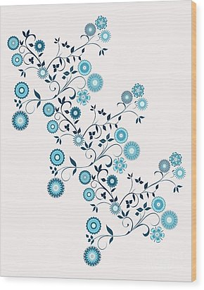 Wood Print featuring the digital art Delft Floral Pattern by Methune Hively