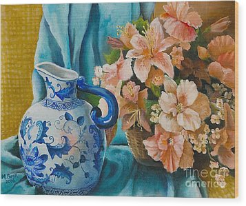 Wood Print featuring the painting Delft Pitcher With Flowers by Marlene Book