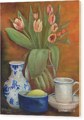 Delft Vase And Mini Tulips Wood Print