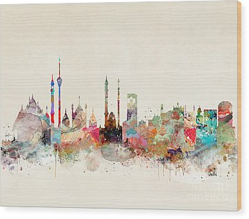 Wood Print featuring the painting Delhi City Skyline by Bri B