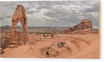 Delicate Arch Panoramic Wood Print by Adam Romanowicz