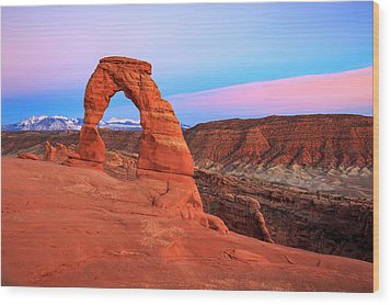 Delicate Arch Sunset Wood Print by Johnny Adolphson