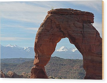 Wood Print featuring the photograph Delicate Arch With Wispy Clouds by Bruce Gourley