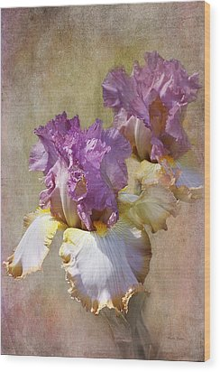Delicate Gold And Lavender Iris Wood Print