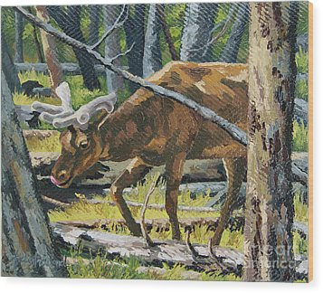 Wood Print featuring the painting Delicious Greens, Yellowstone by Erin Fickert-Rowland