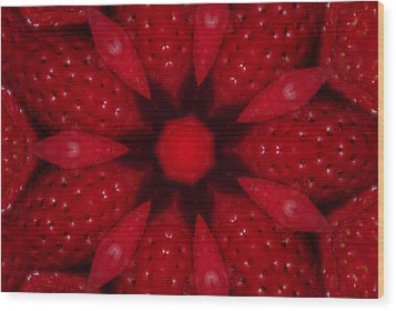 Delicious Strawberries Kaleidoscope Wood Print