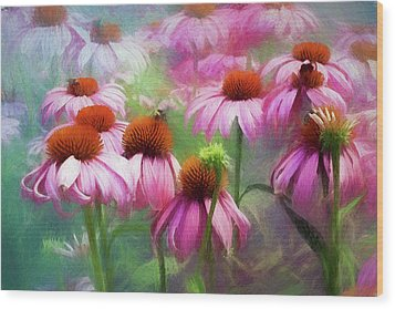 Wood Print featuring the digital art Delightful Coneflowers by Diane Schuster
