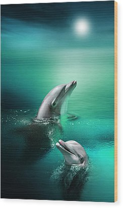 Delightful Dolphins Wood Print by Julie L Hoddinott