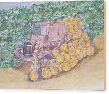 Delivering The Pumpkins Wood Print by Belinda Lawson