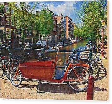Delivery Bike Wood Print by Tom Reynen