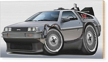 Delorean Back To The Future Wood Print by Maddmax