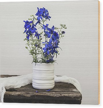 Wood Print featuring the photograph Delphinium Blue by Kim Hojnacki